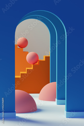 Blue arches, spheres and staircases. 3D Illustration Fototapet