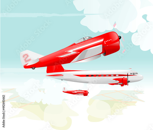 Fotografie, Obraz Aerial view of Two small fighter planes in red arrow livery paint escorting old