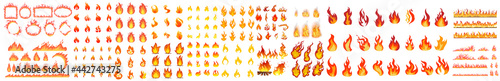 Valokuva Collection of fire icons, Fire flame icon