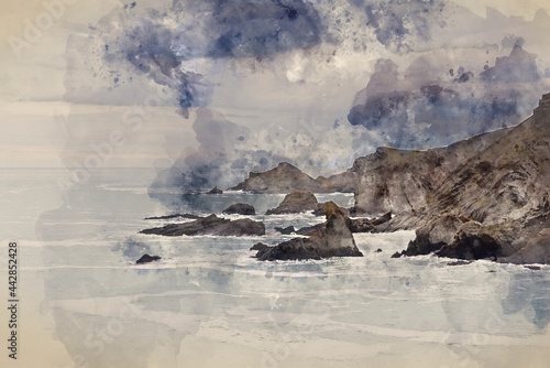 Fotografia, Obraz Digital watercolour painting of Stunning fine art landscape image of view from H