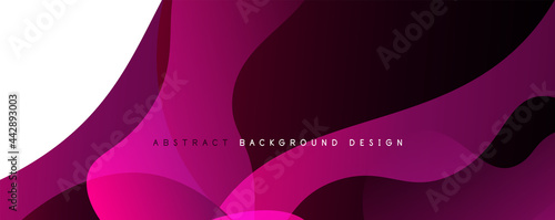 Fotografie, Obraz Trendy simple fluid color gradient abstract background with dynamic wave line effect