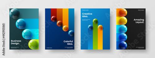 Fotografie, Obraz Creative realistic orbs pamphlet illustration set
