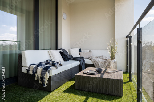 Nice balcony with rattan furniture Fototapet