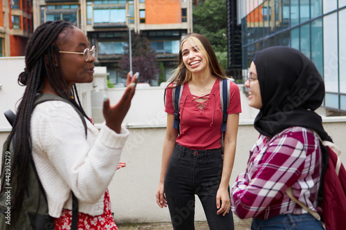 Fotografie, Tablou Three good friends of different ethnicities chatting on their university campus