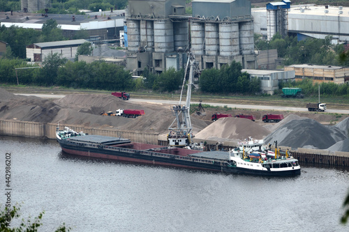 Wallpaper Mural Barge on the river Unloading river sand from a barge Navigable river, river port