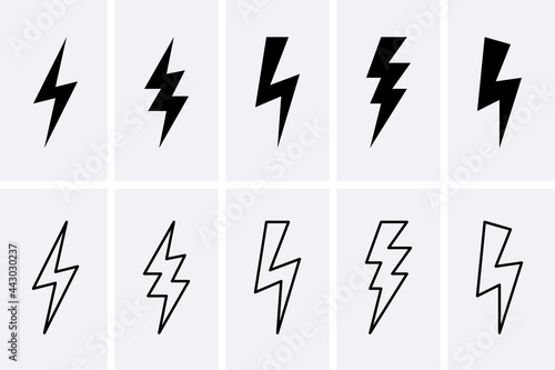 Canvas Print Lightning bolt and thunderbolts Icons set