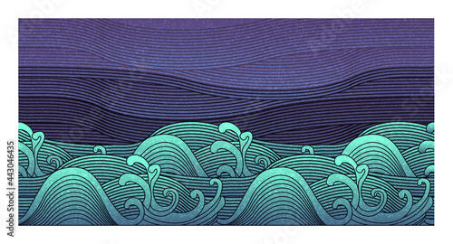 Fotografija Big wave vector illustration