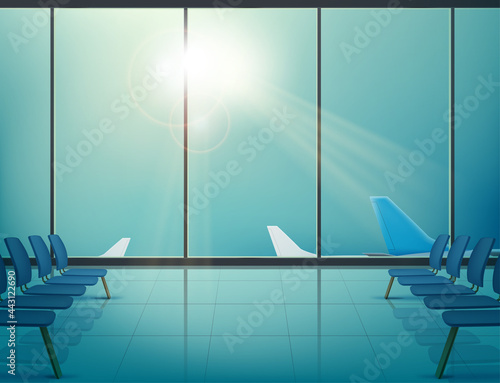 Airplanes in airport in windows of waiting hall