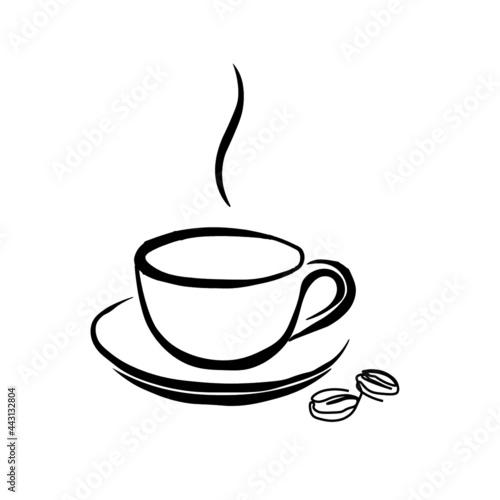 Fotografija coffee, cup, drink, cafe, hot, white, tea, mug, espresso, isolated, black, break