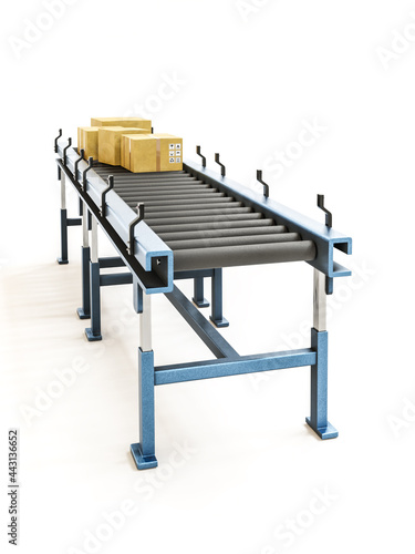 Packages being transported on gravity roller conveyor Fototapet