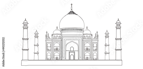 Obraz na plátně Taj mahal vector illustration, Line drawing of Taj Mahal,