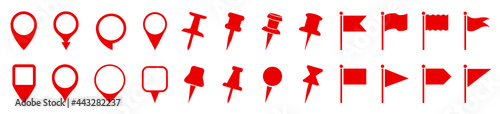 Fotografia Set pin map marker pointer icon, GPS location flat symbol, arrows and flag signs