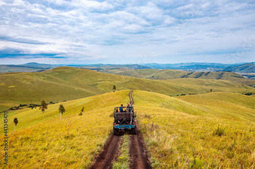 Canvas Print Car ATV tour mountains of Russia Altay travel to national parks safari trip or s