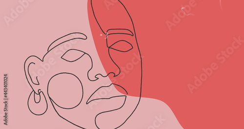 Image of drawing of face in black outline against pastel pink and red background