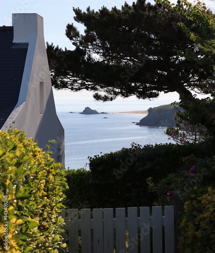 Tela View from the house on the island of Houat in Brittany, Morbihan, France