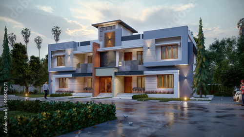 3d illustration of a newly built luxury home