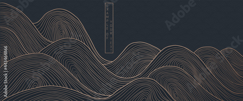 Photo vector abstract japanese style landscapes lined waves in black and gold colours
