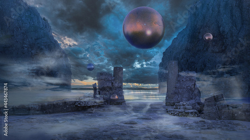 Leinwand Poster 3d illustration of a surreal outdoor scene with floating orbs mountains and wate