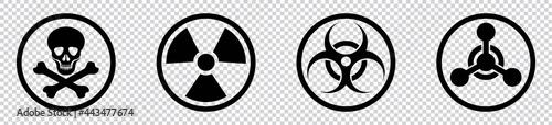 Fotografia nuclear Radiation chemical biological icon set, Toxic sign, Biohazard symbol, Ve