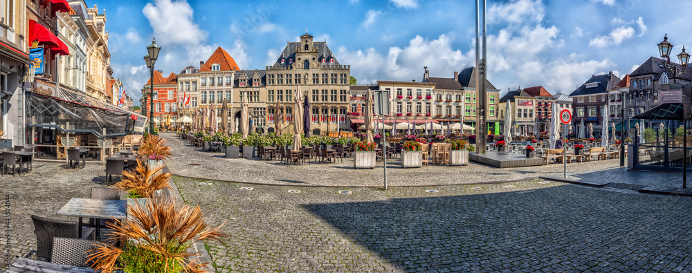 Historic Centre (Grote Markt) at Bergen op Zoom, the Netherlands - obrazy, fototapety, plakaty
