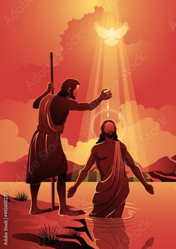 Photo Jesus Baptized by John the Baptist Vector Illustration