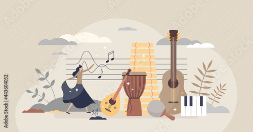 Fotografiet Ethnomusicology music study or ethnic folklore research tiny person concept