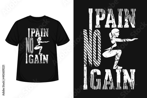 """Wallpaper Mural """"No pain no gain"""" creative typography gym t-shirt 