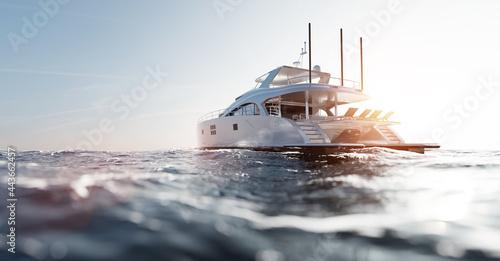 Fotografie, Obraz Catamaran motor yacht on the ocean