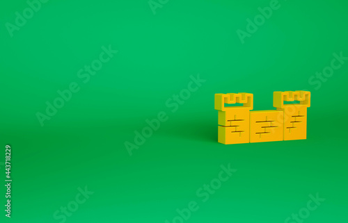 Photo Orange Great wall of China icon isolated on green background