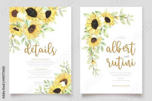 Obraz na plátně watercolor sunflower invitation card