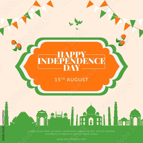 Fototapeta Creative happy Indian independence day banner template.