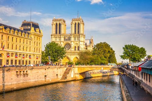 Obraz na plátně Siene river and Notre Dame de Paris in Paris, France