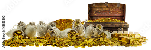 Obraz na plátně A lot of stacking gold coins in treasure stack and gold bar 1kg on white backgro