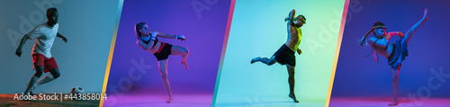 Fotografia Young MMA fighters and footballer practicing isolated over blue purple and gray background in neon light