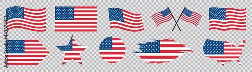 Obraz na plátne usa flag icons set, United States of America flag, Vector illustration