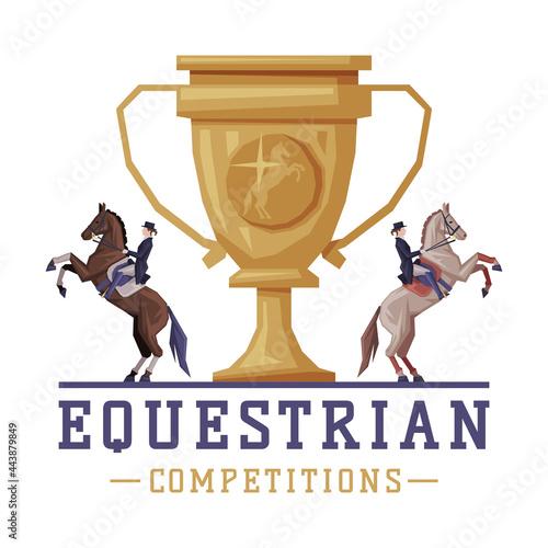 Equestrian Competitions Logo Design, Sports Club, Derby, Tournament Label, Emble Fototapet