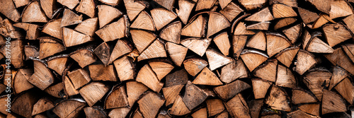 textured firewood background of chopped wood for kindling and heating the house Fototapeta
