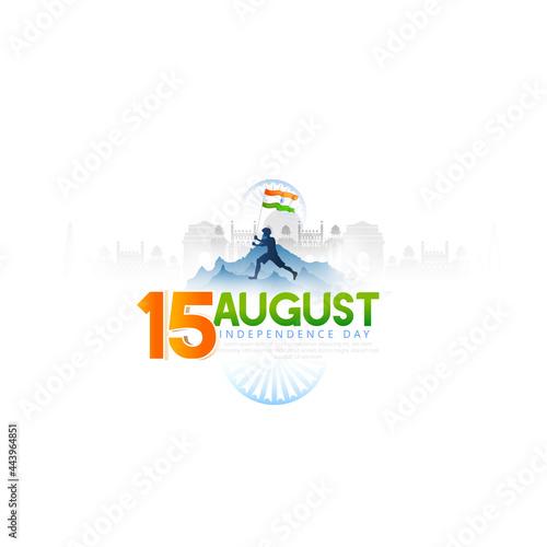 Obraz na plátne illustration of Famous Indian monument, Ashoka chakra, 15th August Happy Indepen