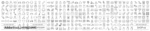 Fotografie, Obraz Black and white icon set 200 related to shops and EC and infectious disease cont