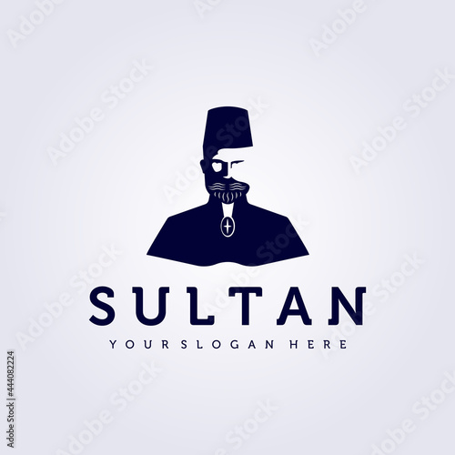 Fotografiet sultan wear cap, king logo lord vector illustration design vintage icon man peop