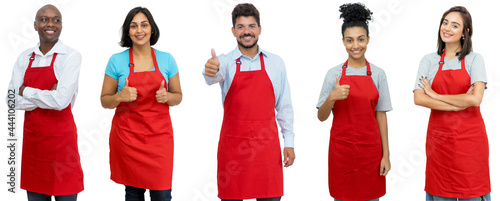 Foto Waiters and waitresses and clerks - Group of laughing latin american and african