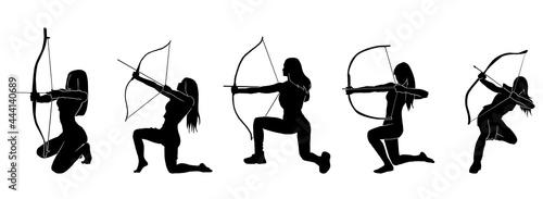 Tableau sur Toile female fantasy archer warrior action silhouette