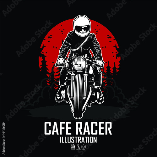 Canvas-taulu CAFE RACER ILLUSTRATION WITH A BLACK BACKGROUND