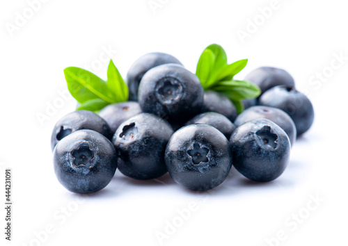 Wallpaper Mural Ripe blueberries with leaves