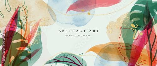 Obraz na płótnie Abstract art gold tropical leaves background vector