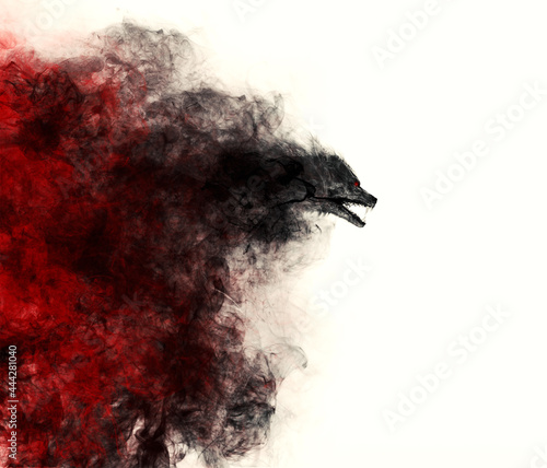 Photo Illustration of a Werewolf emerging out of a black and red cloud of smoke