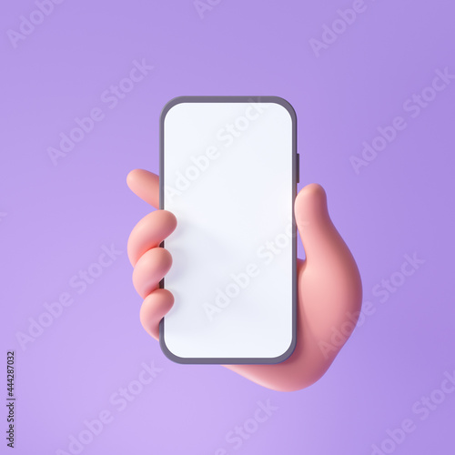 Photo 3D Cartoon hand holding smartphone isolated on purple background, Hand using mobile phone mockup