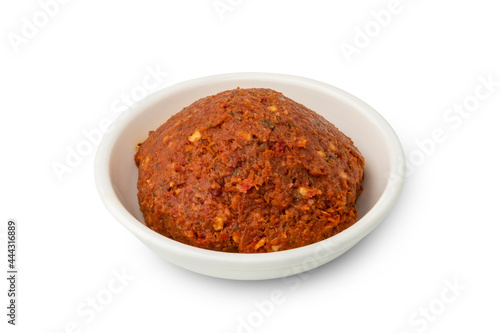 Canvas Print thai red curry paste isolated on white background