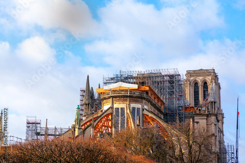 Fotografie, Obraz Notre Dame Cathedral in Paris during Reconstruction
