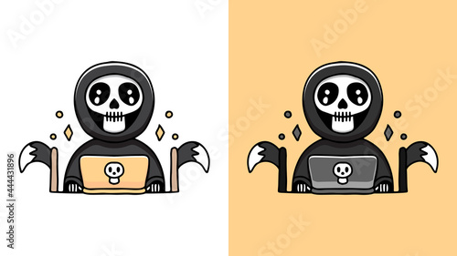 Photo grim reaper playing a laptop cartoon